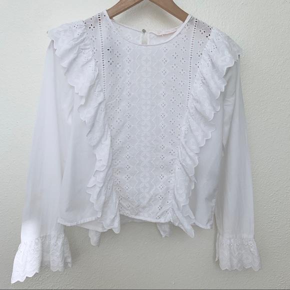 Zara Eyelet Long Sleeve Top